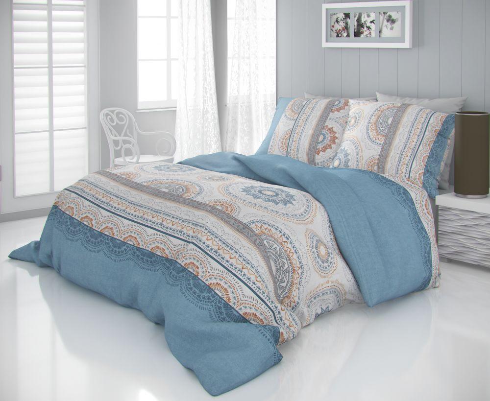 Luxusní saténové povlečení s ornamentami v modrém provedení CARMELA béžová Kvalitex
