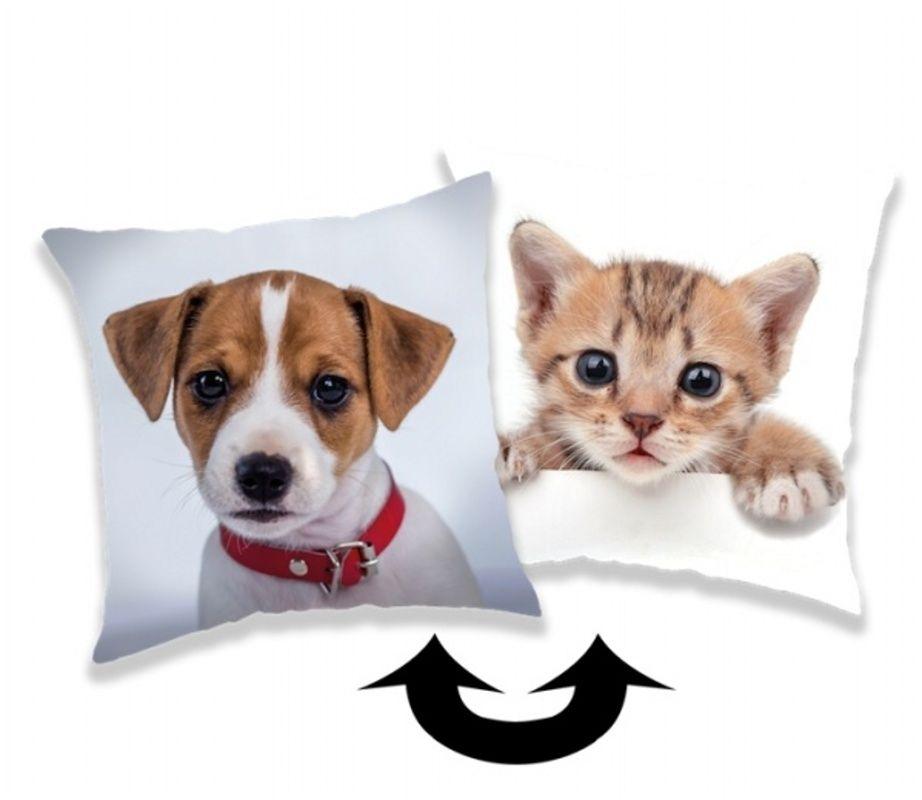 Polštářek s motivem psa a kočky v kombinaci flitrů Dog and Kitty Jerry Fabrics