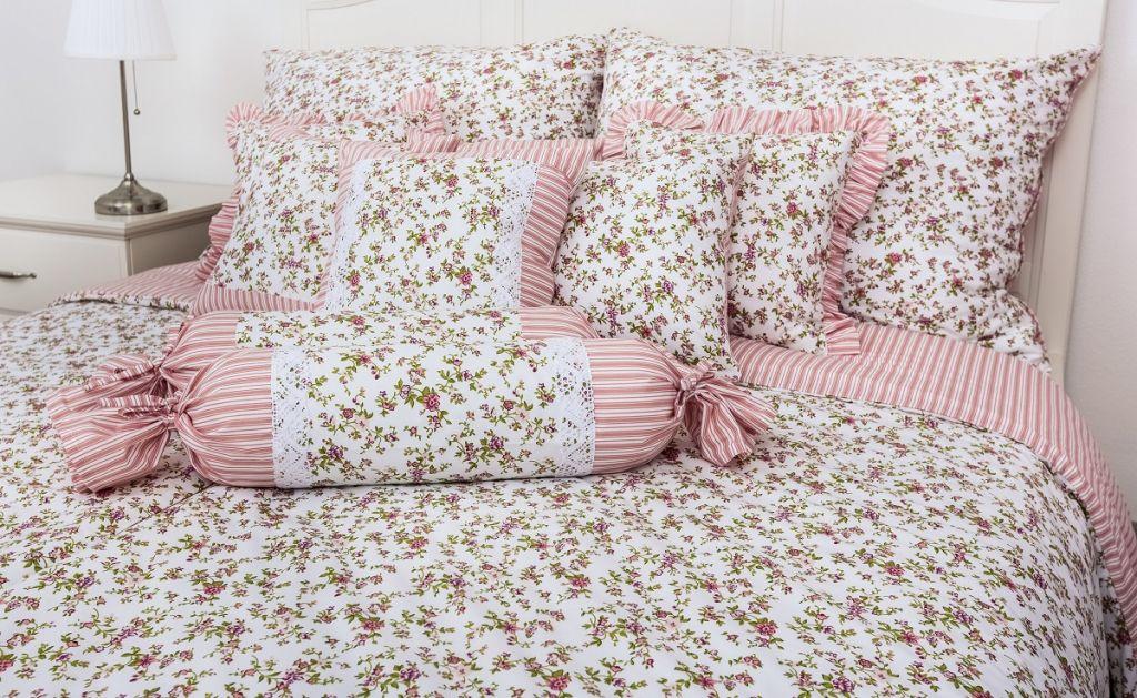 Povlečení Kytička s růžovým proužkem (bavlna) Provence