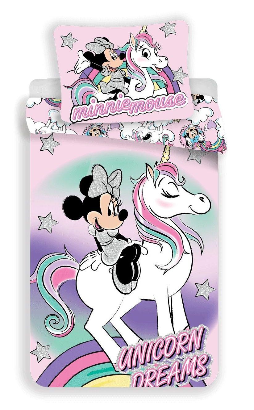 Bavlněné povlečení pro dívky s motivem sedící Minnie na jednorožci Minnie unicorn Jerry Fabrics