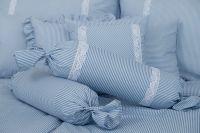 Povlečení selského stylu modrý drobný proužek