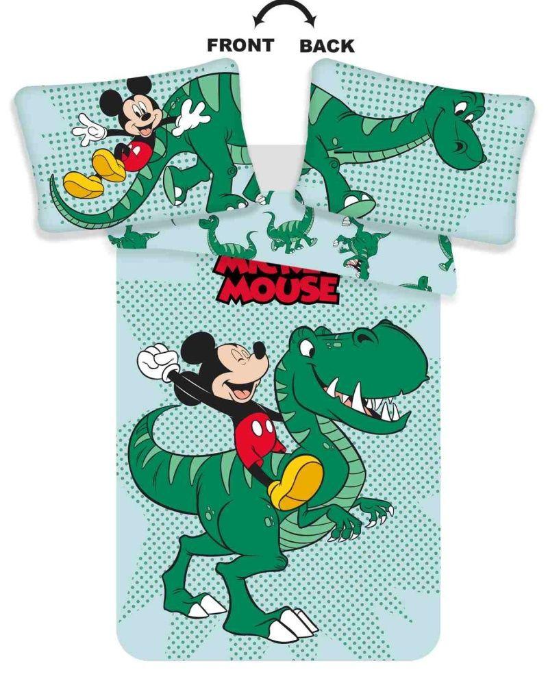 Povlečení do postýlky s motivem Mickey sedící na dinosauru Jerry Fabrics