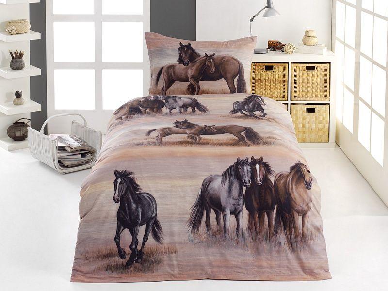 Kvalitní bavlněné povlečení divocí Koně v zemitých odstínech. Matějovský