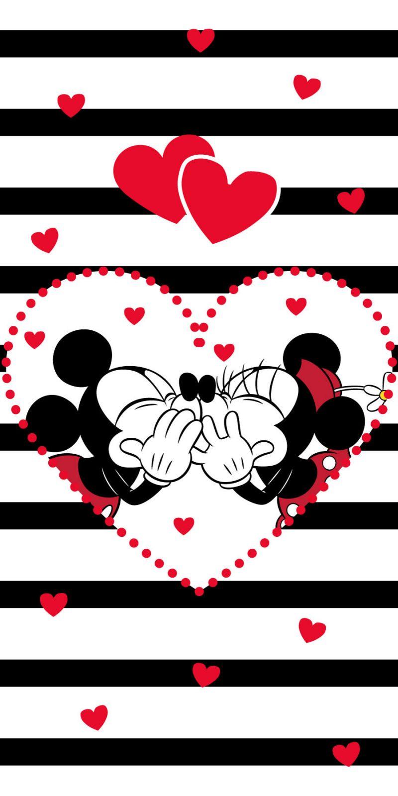 Dětská osuška Mickey a Minnie na pruhovaném podkladu Jerry Fabrics