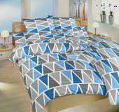 Povlečení bavlna Trojúhelníky modré 140x200, 70x90 cm II.jakost
