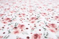 Krepové povlečení oboustranné selského stylu se vzorem růže laděné do růžové barvy