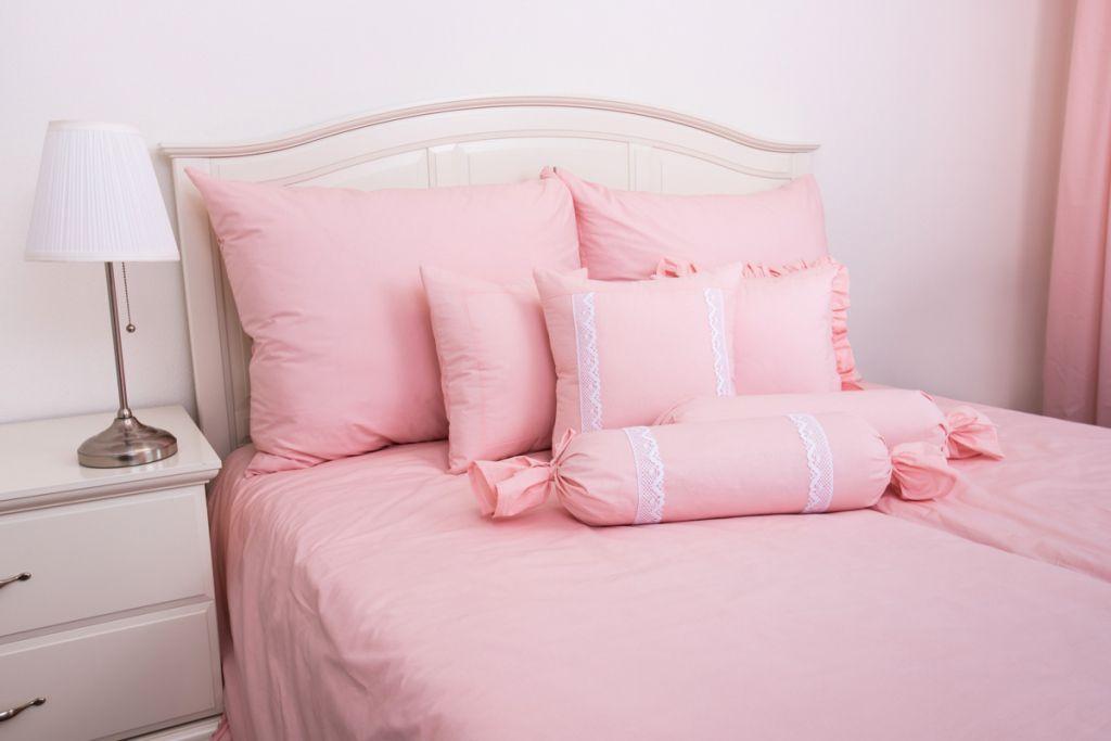 Krepové povlečení jednobarevné světle růžové