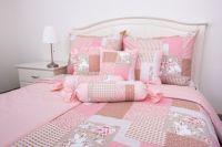 Krepové povlečení oboustranné selského stylu se vzorem patchworku růžové barvy