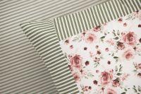 Krepové povlečení oboustranné selského stylu se vzorem růže laděné do zelené barvy