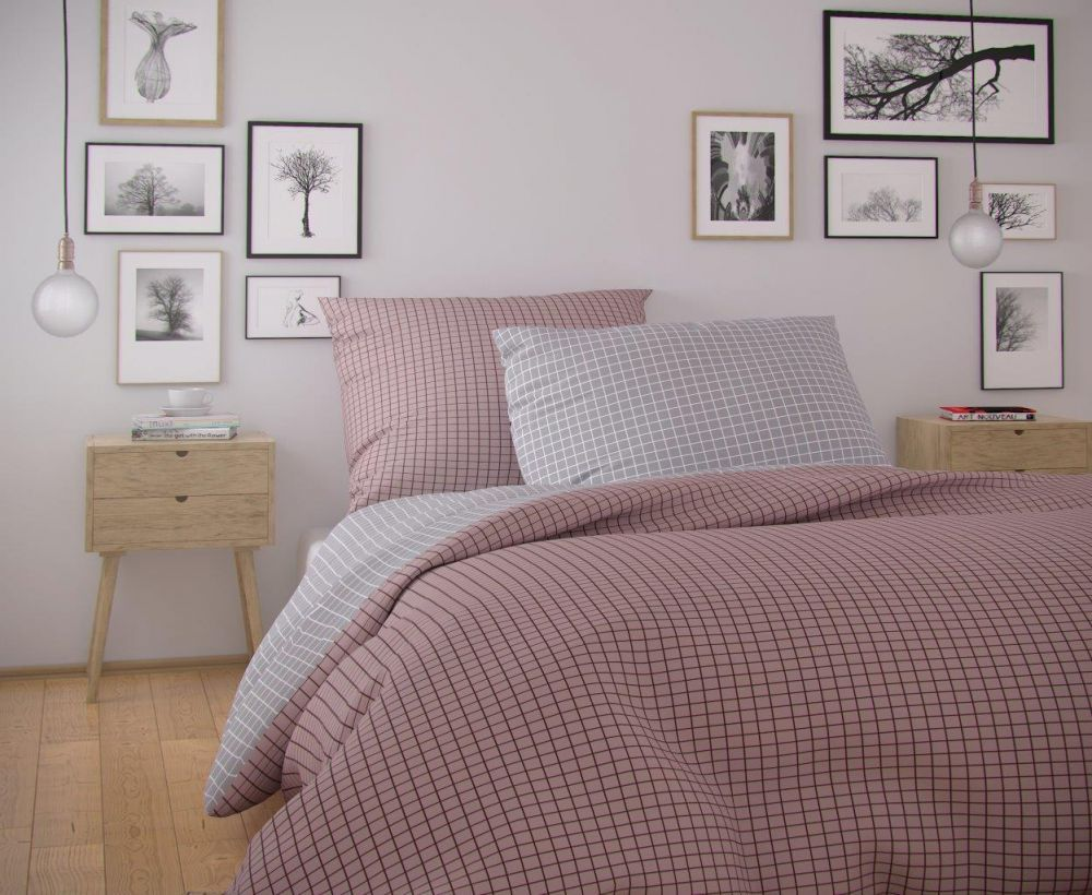 Kvalitní bavlněné povlečení v růžovo-šedé barvě. Kvalitex
