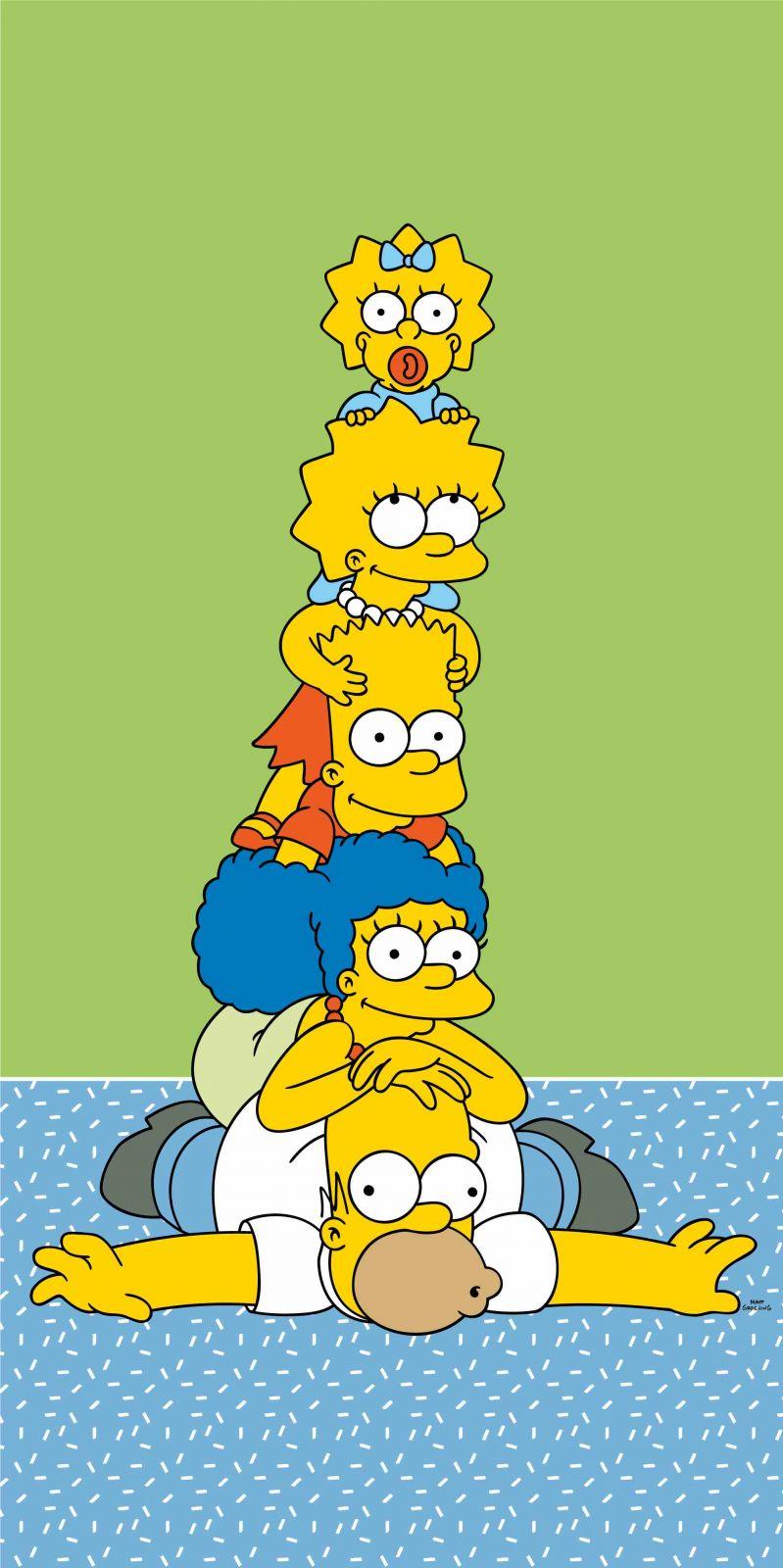 Dětská osušla Simpsons family na zeleném podkladu Jerry Fabrics