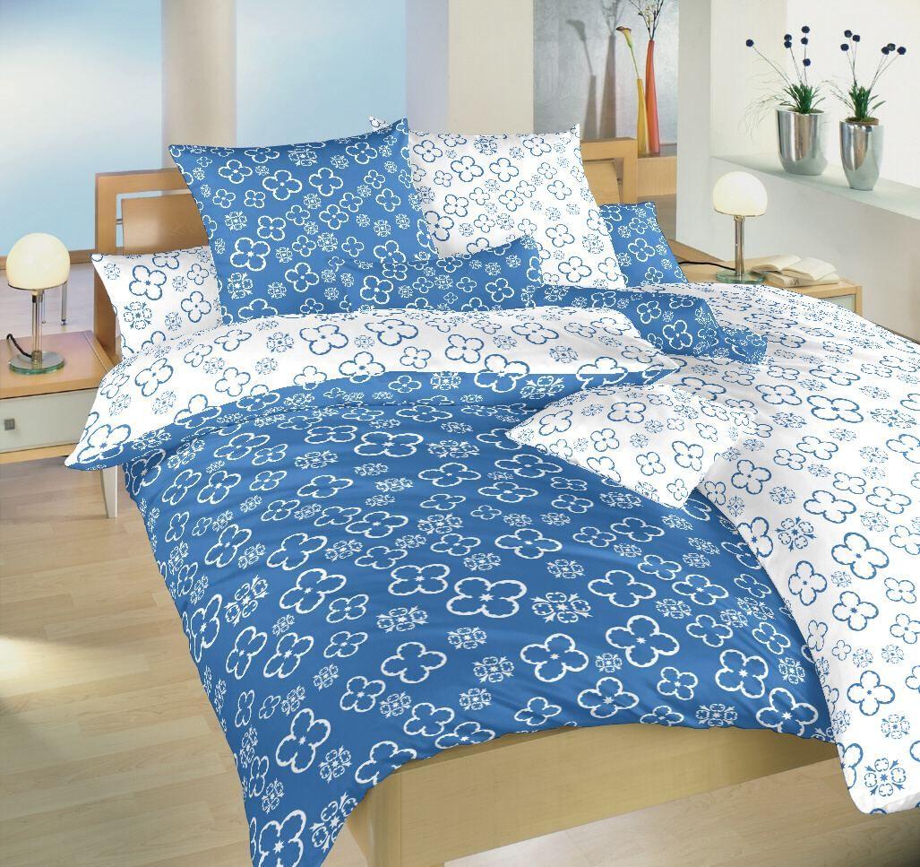 Oboustranné bavlněné povlečení bílé a modré barvy se vzorem čtyřlístků Dadka