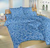 Bavlněné povlečení modré barvy se vzorem bílých čtyřlístků Dadka