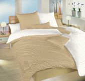 Povlečení bavlna Puntík bílý/béžový DUO 140x200, 70x90 II.jakost