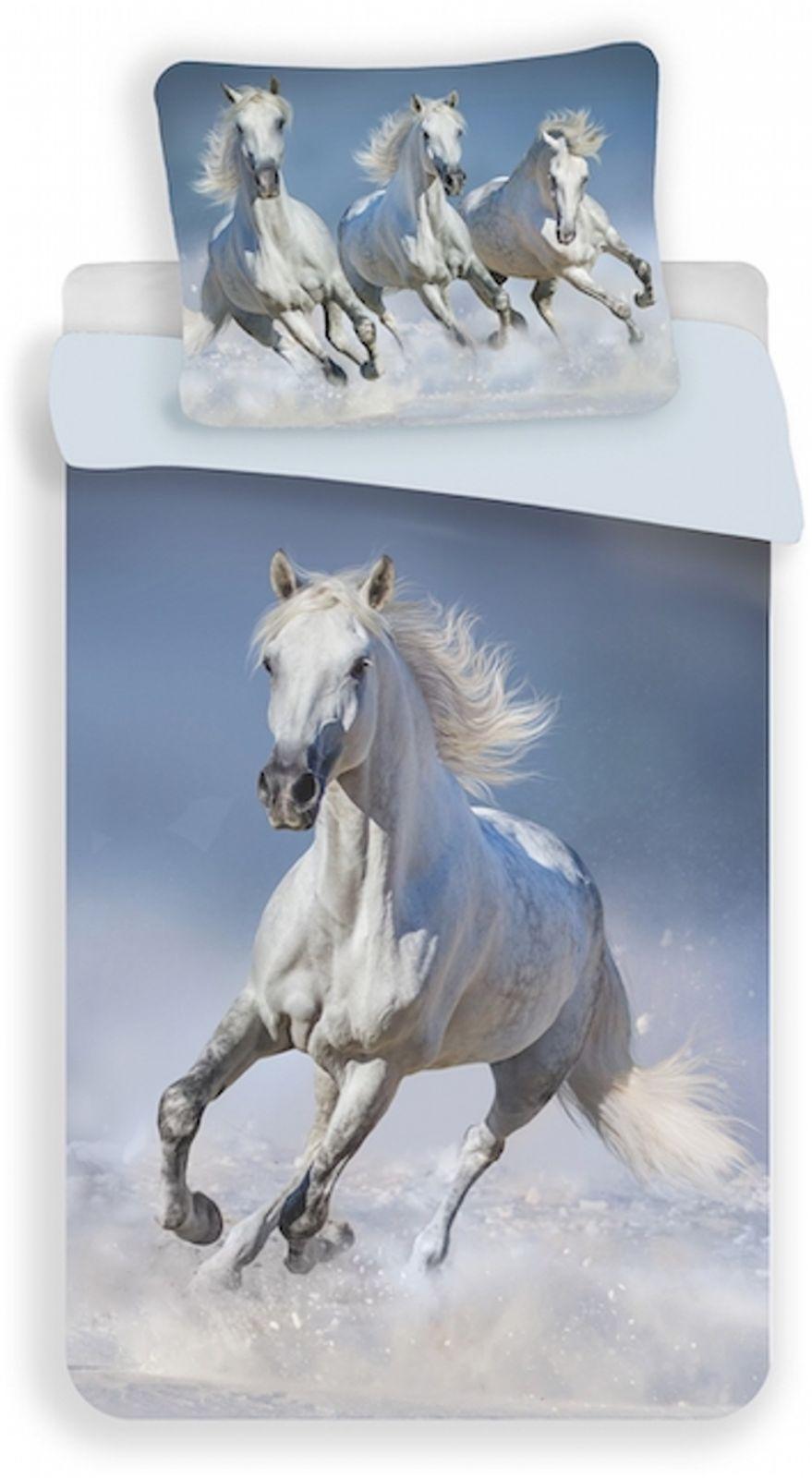 Bavlněné povlečení s motivem bílého koně Jerry Fabrics