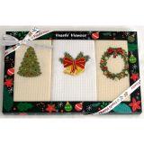 Vánoční dárková sada utěrek - zelená - 3 ks