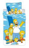 Bavlněné povlečení na modrém podkladu Simpsons Family Jerry Fabrics