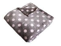 Heboučká soft deka šedé barvy s růžovým puntíkem Dadka