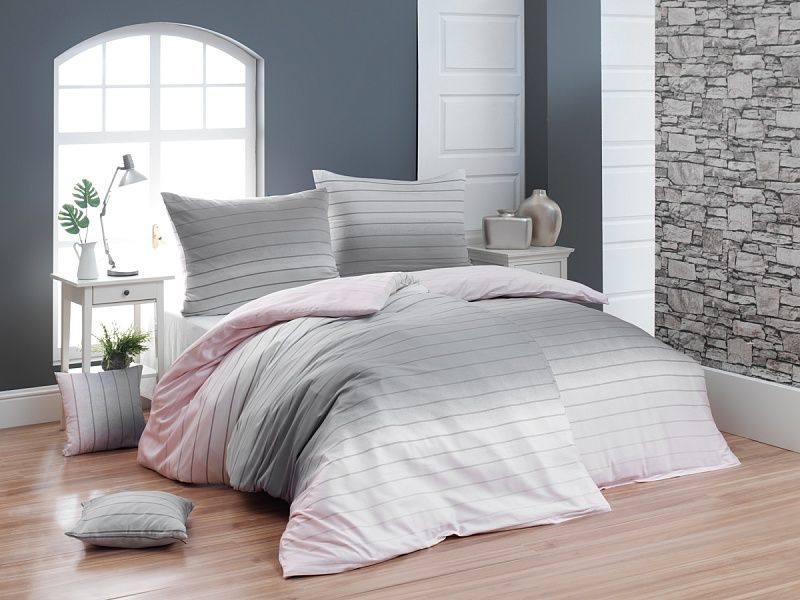Luxusní flanelové povlečení s decentním proužek ombré efektu růžové a šedé barvy Matějovský