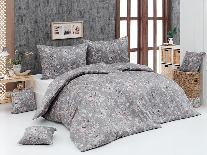 Kvalitní saténové povlečení Florin s romantických vzorem v šedo-pudrové barvy Matějovský