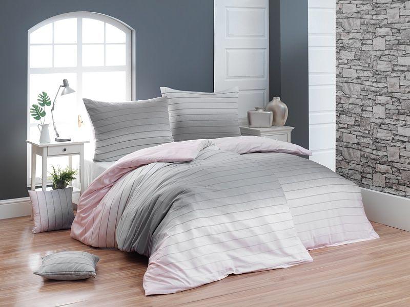 Luxusní krepové povlečení s decentním proužek ombré efektu růžové a šedé barvy Matějovský