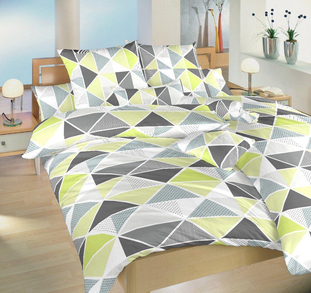 Kvalitní krepové povlečení s moderním vzorem lazené do zelené barvy Pyramidy kiwi Dadka