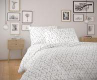 Bavlněné moderní povlečení FRIDA bílá s geometrickým vzorem.