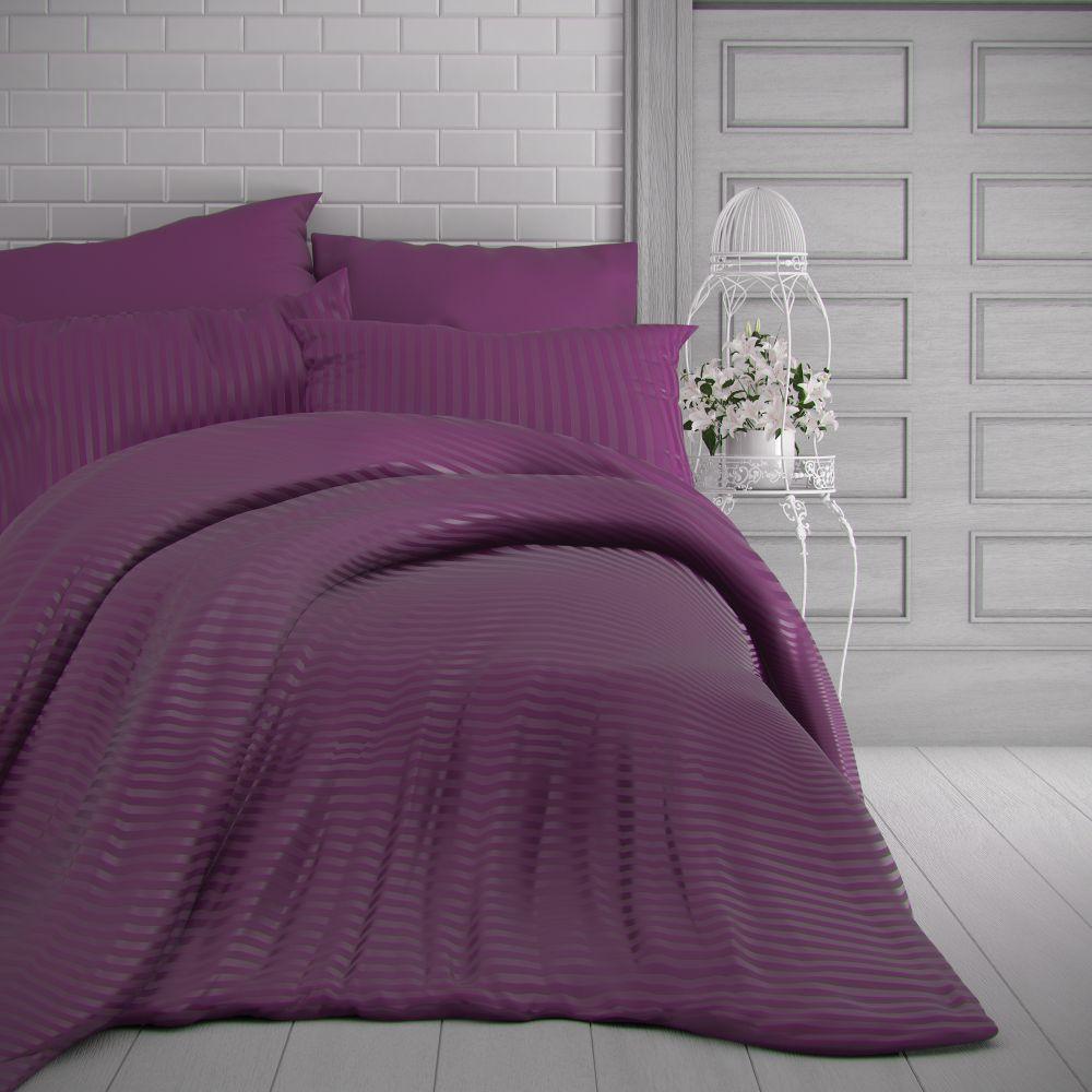 Saténové povlečení purpurové s proužky luxusní. Kvalitex