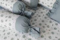 Krepové povlečení oboustranné selského stylu se vzorem drobných kytiček a proužků