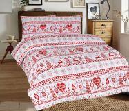Flanelové povlečení s vánočními motivy v červeno-bílém provedení. | 1x 140/200, 1x 90/70, 1x 140/220, 1x 90/70